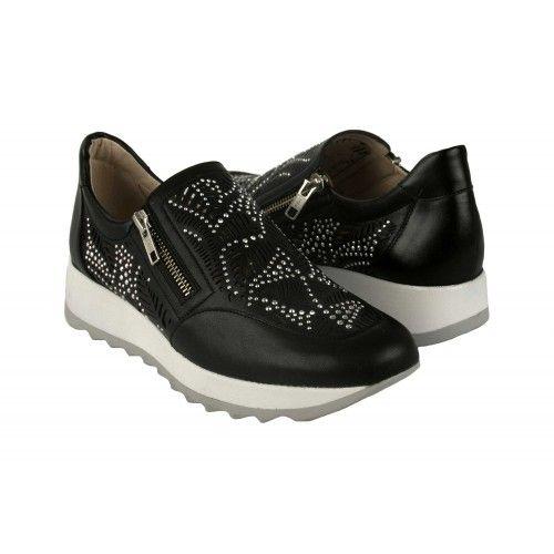 Sneakers de piel con...