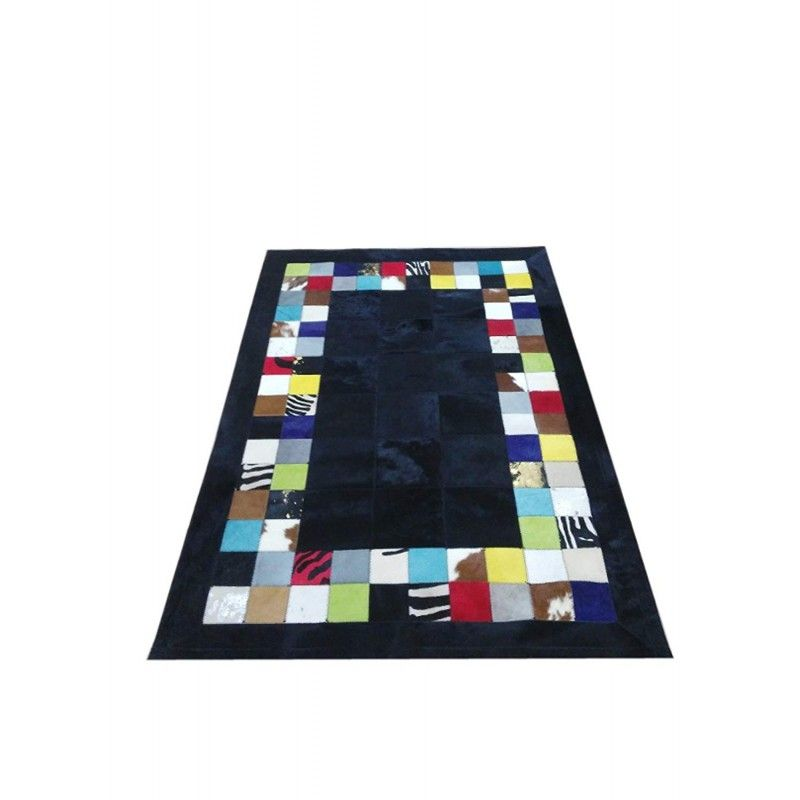 Cowhide Area Rug Patchwork, 31x47 in, Area Rugs Living Room