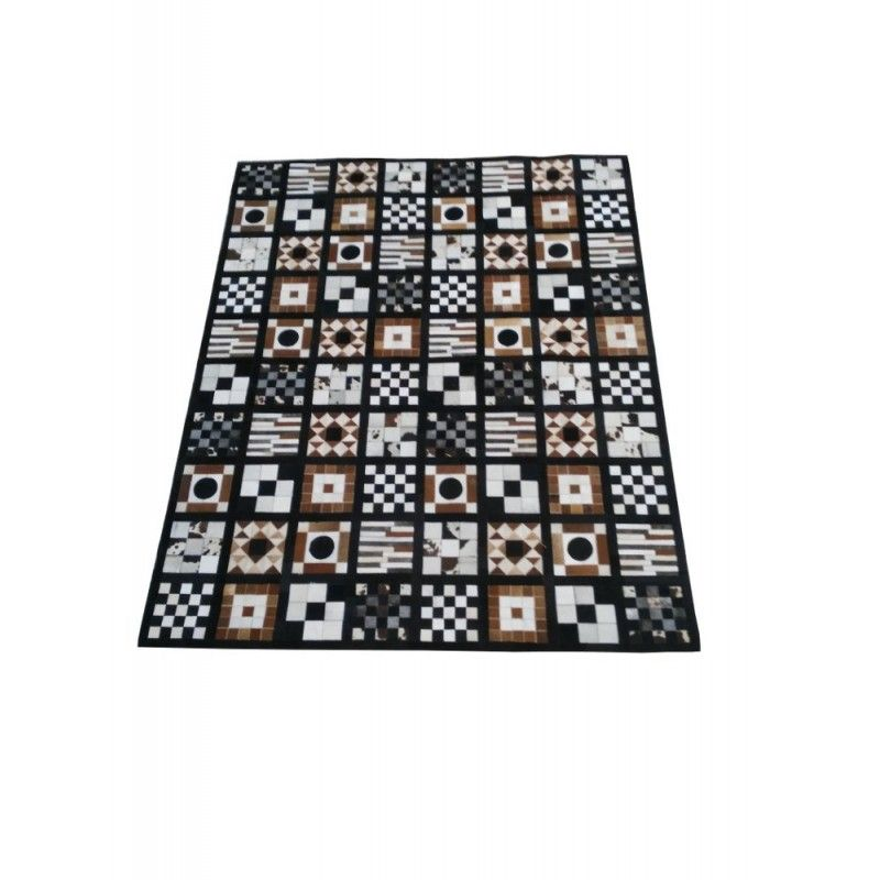 Cowhide Area Rug Patchwork, 95x119 in, Area Rugs Living Room