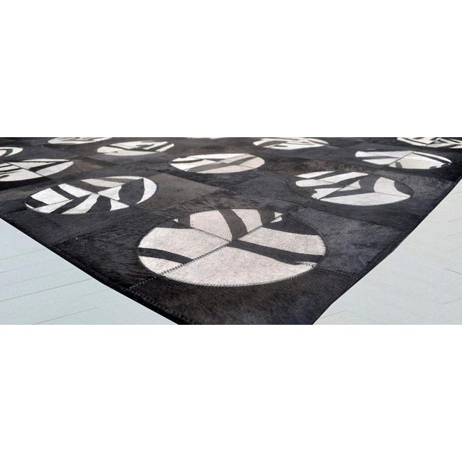 Cowhide Area Rug Patchwork, 95x46 in, Area Rugs Living Room