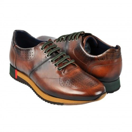 Brown leather sports shoes...