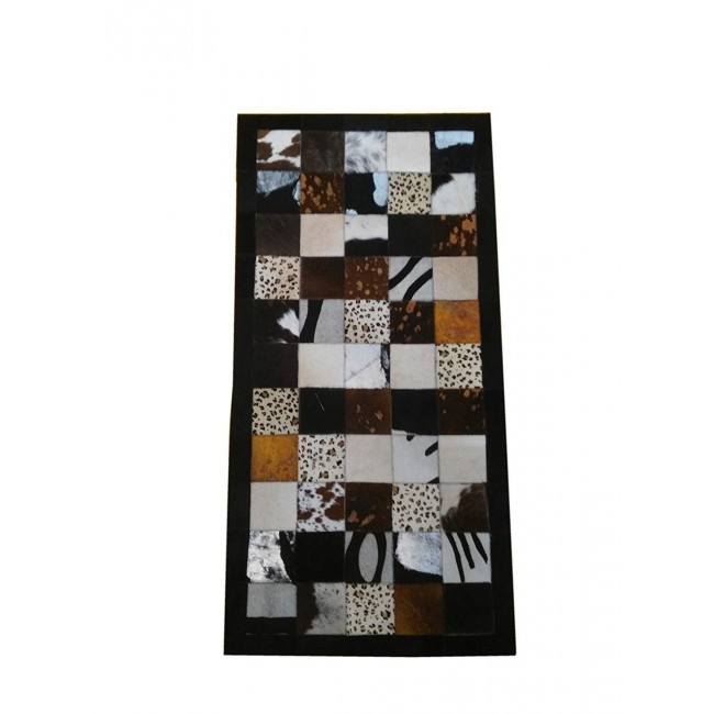 Cowhide Area Rug Patchwork, 47x23 in, Area Rugs for Living Room