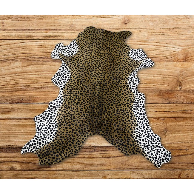 Cowhide Area Rug Tinted Cheeta 47x39 in, Area Rugs for Living Room