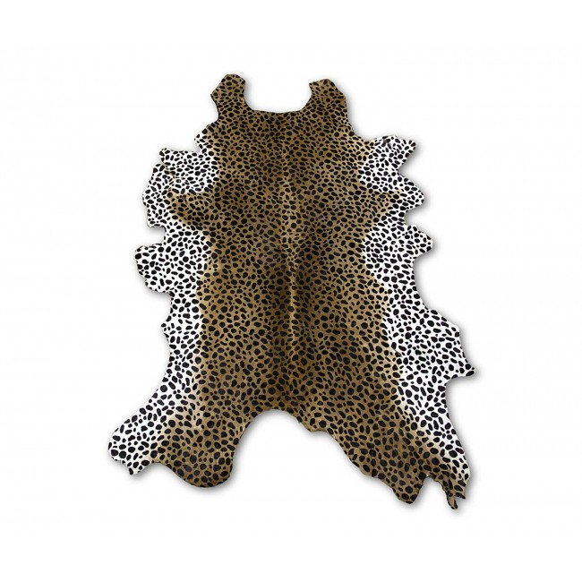 Cowhide Area Rug Tinted Cheeta 51x35 in, Area Rugs for Living Room