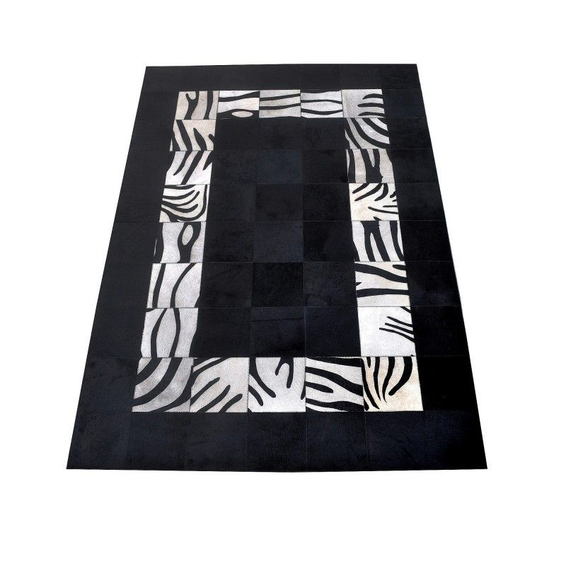 Cowhide Area Rug Patchwork, 94x118 in, Area Rugs Living Room