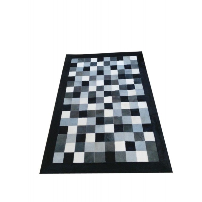 Cowhide Area Rug Patchwork, 23x47 in, Area Rugs Living Room
