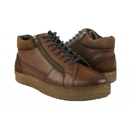 Leather sneakers boots with...