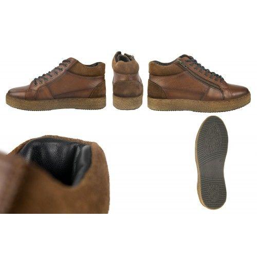 Botines sneakers de cuero...