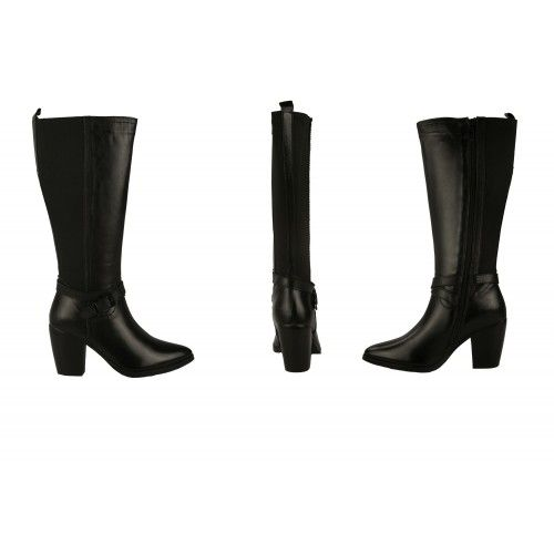 8 cm high heel leather boots