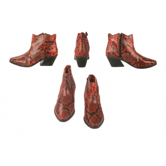 Cowboy boots with snake print and zip closure