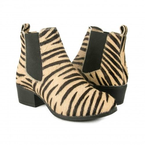 Animal print leather ankle...