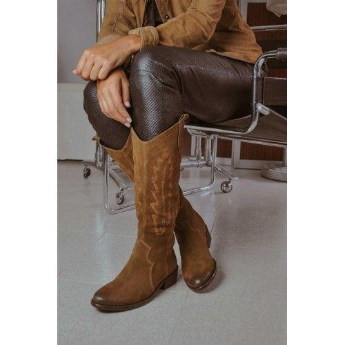 High leather boot with...
