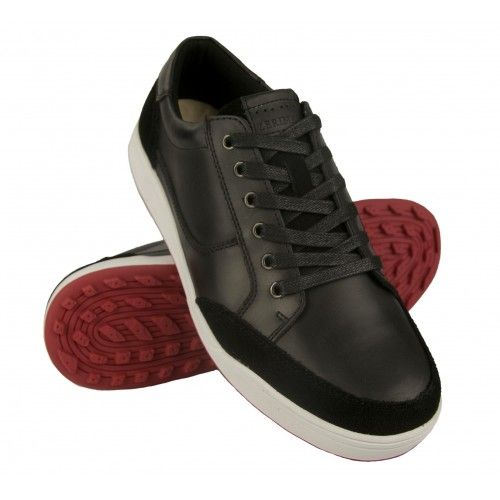 Skórzane buty do golfa ze...
