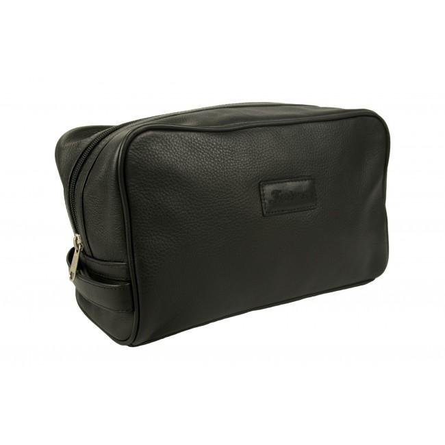 Toilet bag - zippered leather toilet bag