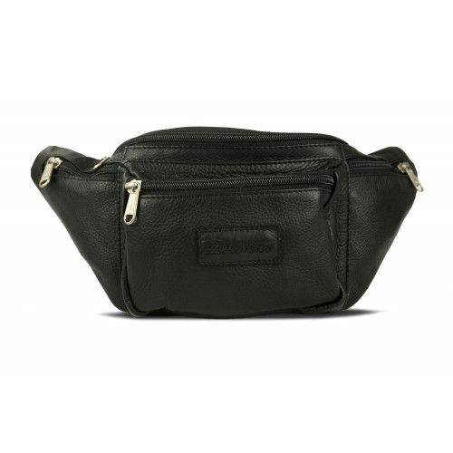 Leather waist bag with...