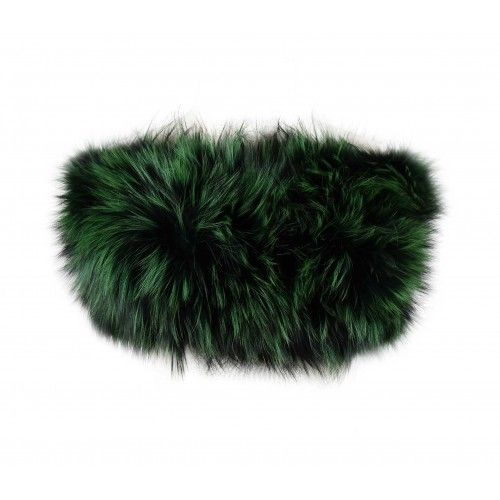 Green and black raccoon stole