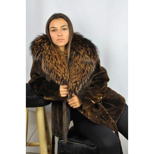 Mink jacket with raccoon...