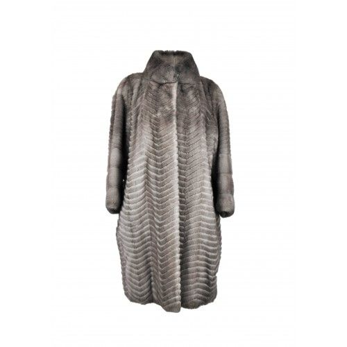 Abrigo largo de visón a rayas