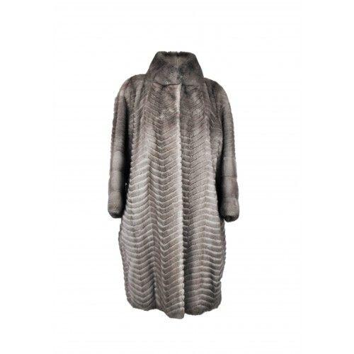 Long striped mink coat