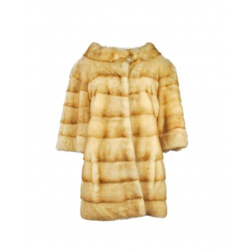 Mink coat with button on...