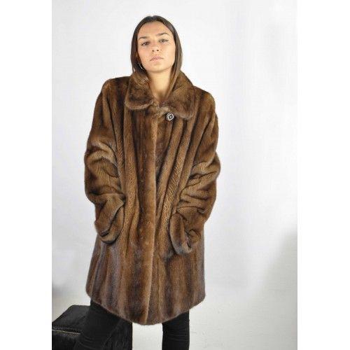Abrigo de vison largo demi...
