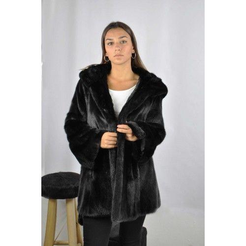 Black mink jacket with belt...