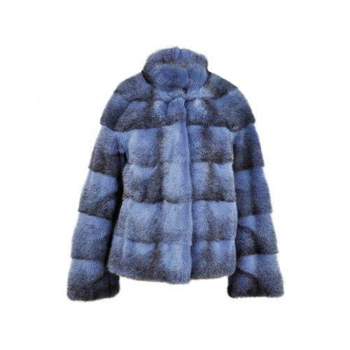 Short blue mink jacket