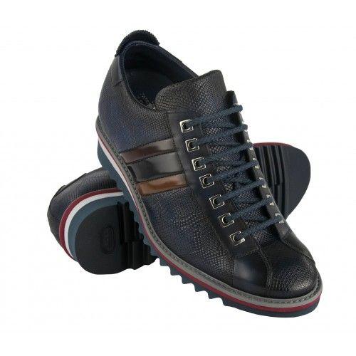 Sneakers de piel con alza...