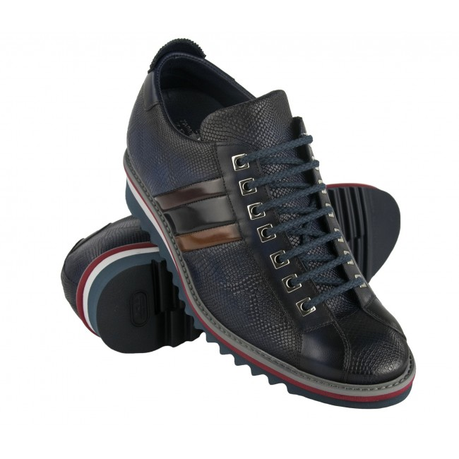 Leather sneakers with 7 cm internal rise with flag