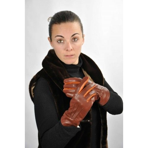Brown leather gloves with...