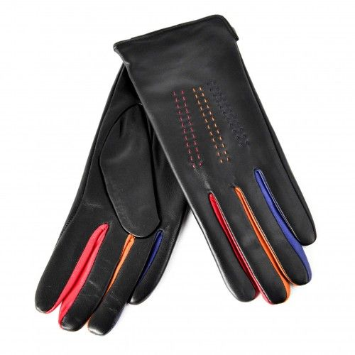 Black leather gloves with...
