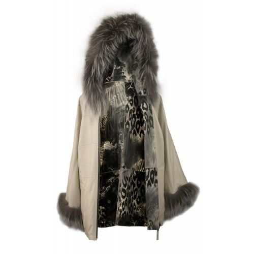 Reversible coat with fox...