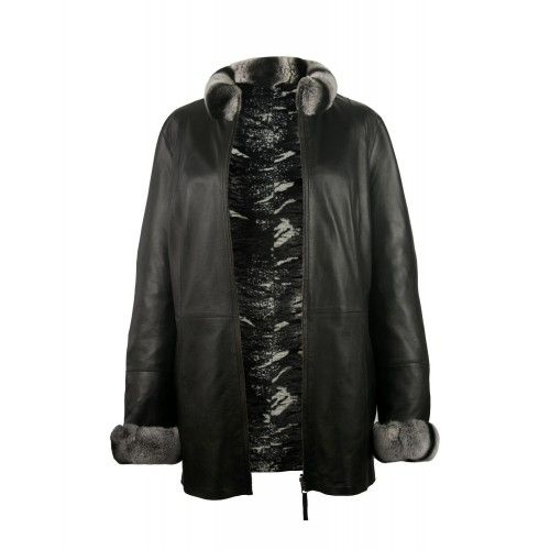 Reversible fur jacket with...
