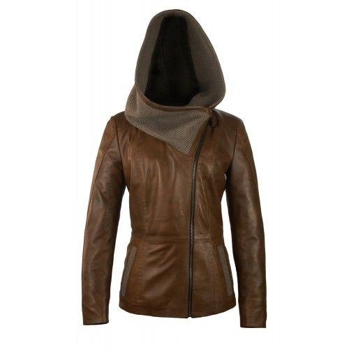 Leather jacket with wool hood