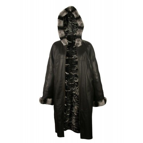 Hooded coat with rabbit fur...