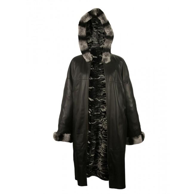 Abrigo reversible con capucha de piel de conejo y cremallera