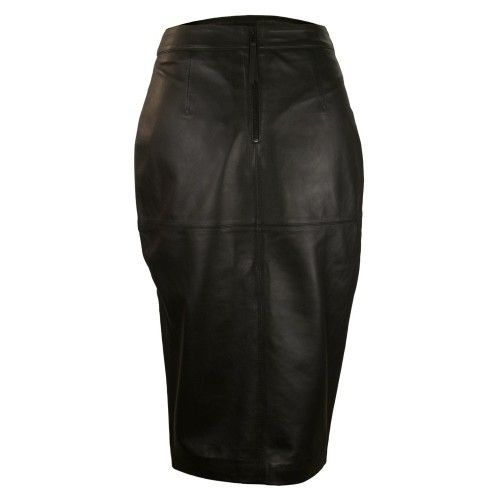 Midi leather piped skirt