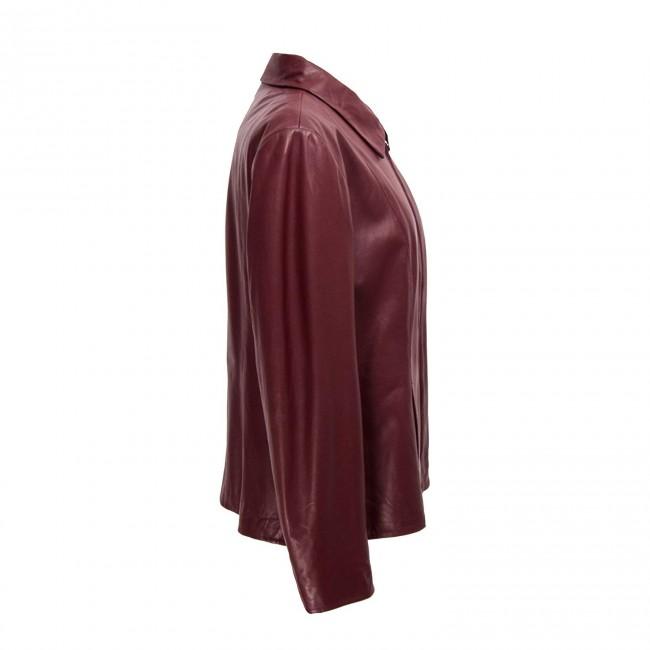 Chaqueta de piel de corte sencillo y elegante para mujer color burdeos