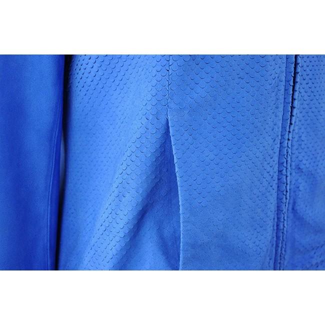 Chaqueta de piel de ante azul