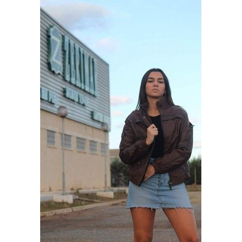 Brown leather jacket with...