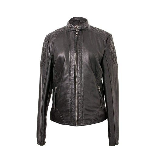 Leather jacket with buckle...