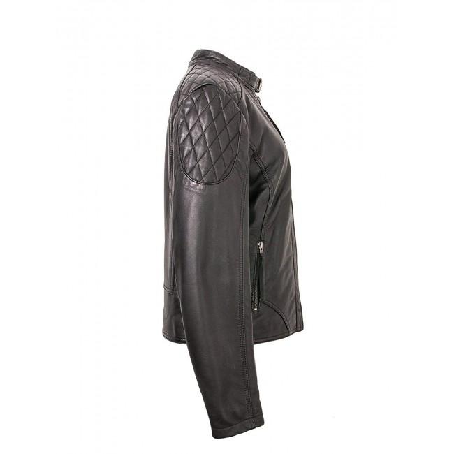 Cazadora de cuero para mujer con detalle en hombros en color negro