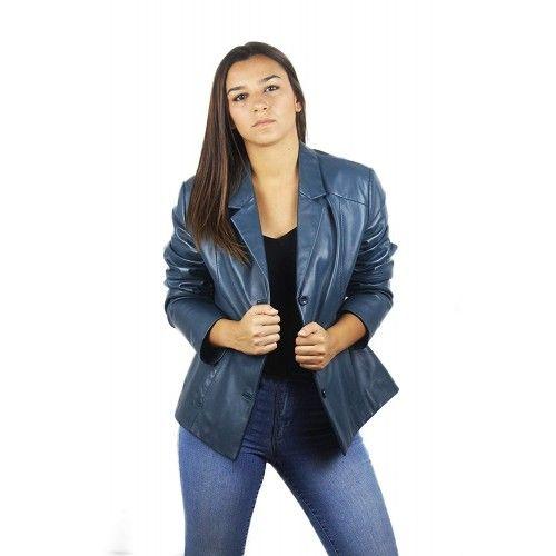 Blue blazer-style fur...
