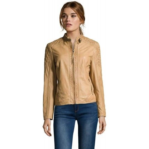 Beige Leather Jacket with...