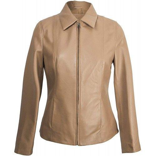 Taupe Leather Jacket with...