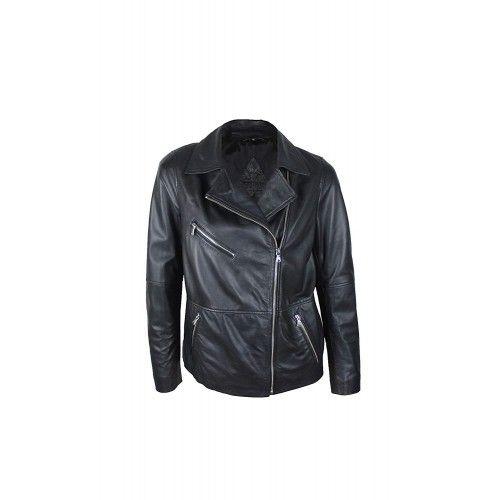Black leather biker jacket...