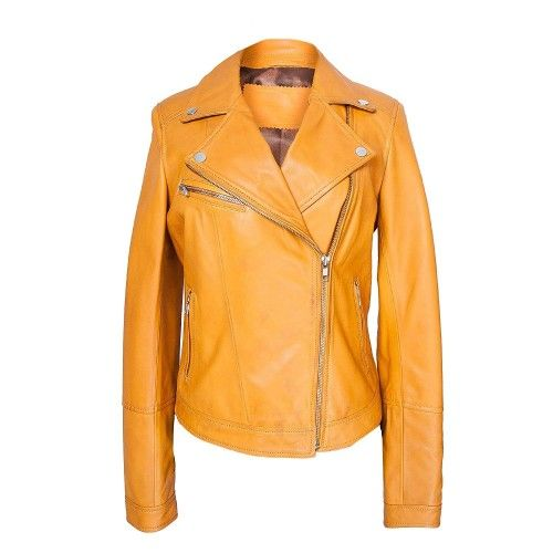 Yellow biker style leather...