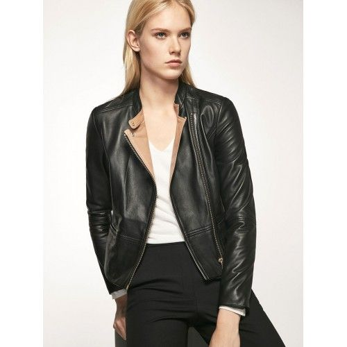 Leather jacket with beige...