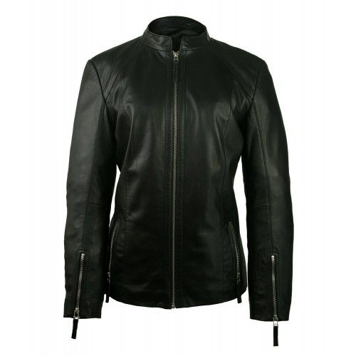 Women's leather jacket with...