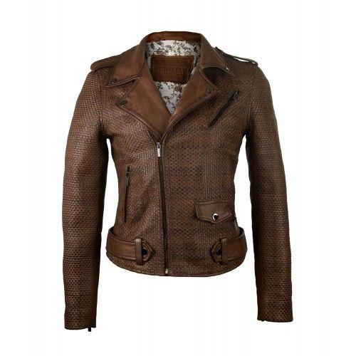 Braided biker leather jacket